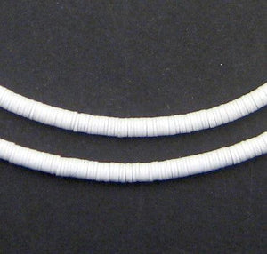 White Vinyl Phono Record Beads (4mm) - The Bead Chest