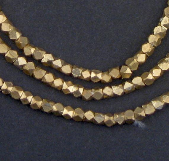 Diamond Cut Faceted Brass Beads (3mm) - The Bead Chest