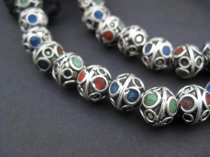 Tri-Color Enamel Berber Beads (10mm) - The Bead Chest