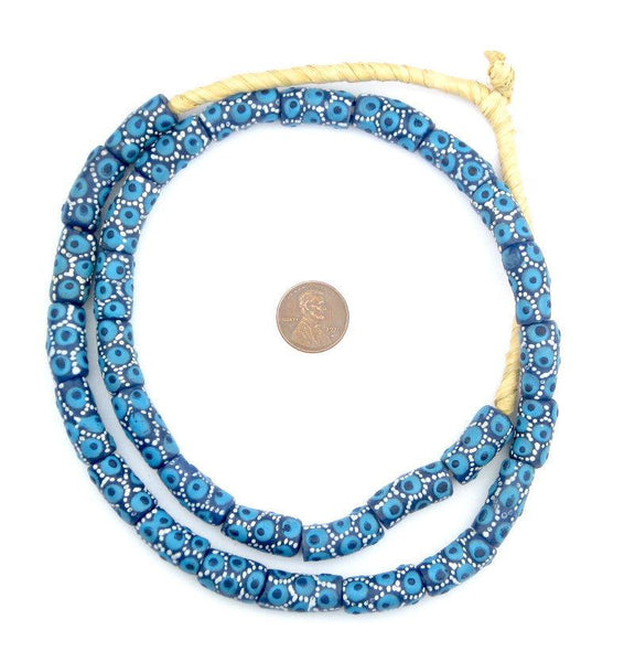 Spotted Blue Krobo Powder Glass Beads