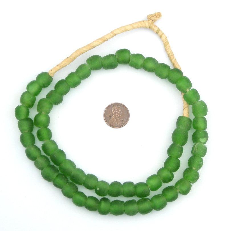 Green Recycled Glass Beads (11mm) - The Bead Chest