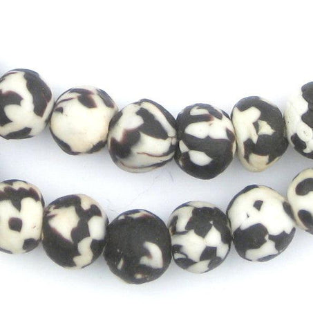 Black Fused Recycled Glass Beads (14mm) - The Bead Chest