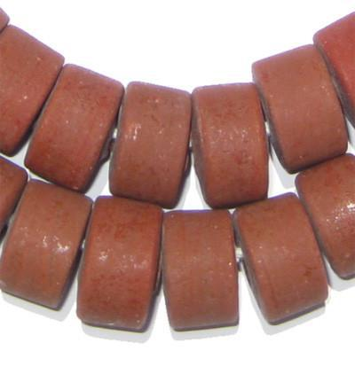 Rust Red Recycled Glass Beads (Tabular) - The Bead Chest