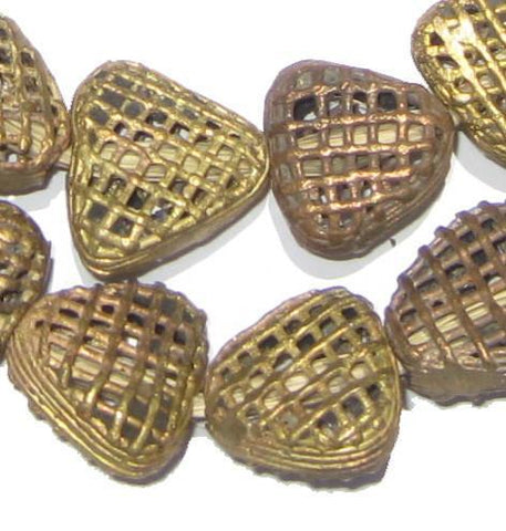 Image of Brass Filigree Triangle Beads, Swirl Design - The Bead Chest