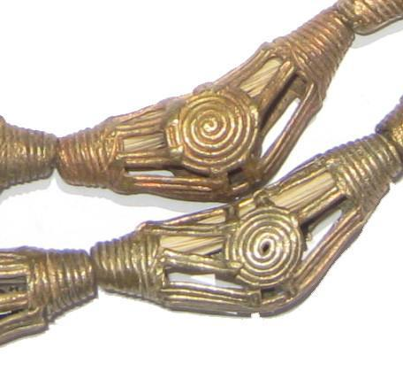 Striated Sun Brass Filigree Elbow Beads (42x15mm) - The Bead Chest