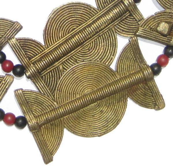Baule Brass Beads, Sun Moon Design (64x38mm) - The Bead Chest