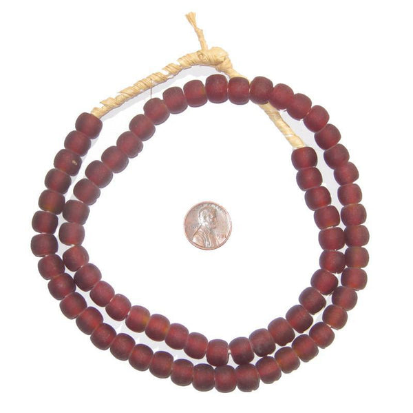 Maroon Recycled Glass Beads (Small)