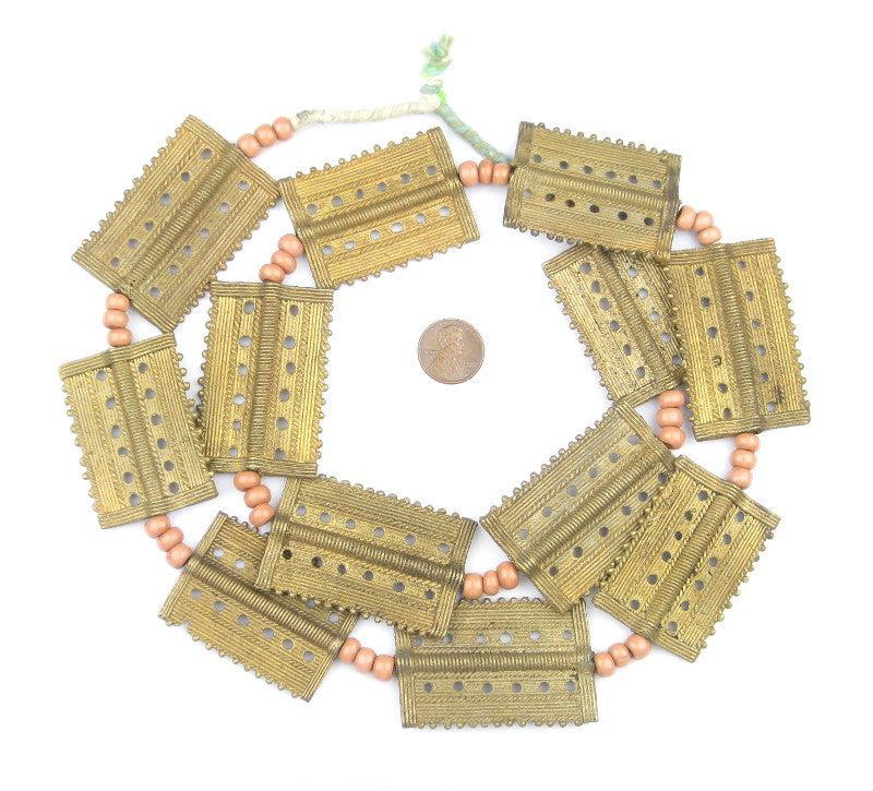 Rectangular Baule Brass Beads (48 x 35mm) - The Bead Chest