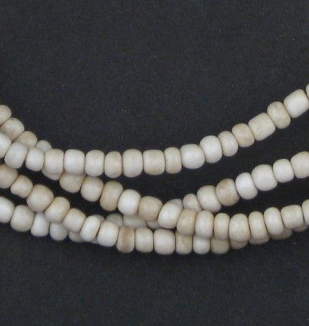 Vintage White Ghana Glass Beads (2 Strands) - The Bead Chest