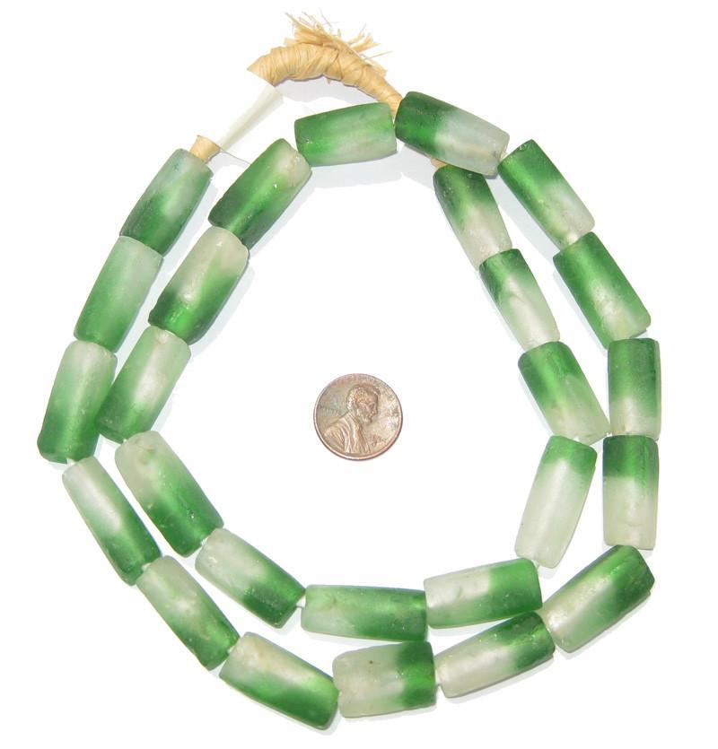 Green Fade Rectangular Recycled Glass Beads 24mm - The Bead Chest