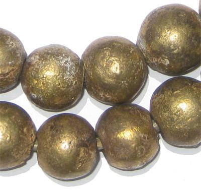Image of Nigerian Brass Globe Beads (18mm) - The Bead Chest
