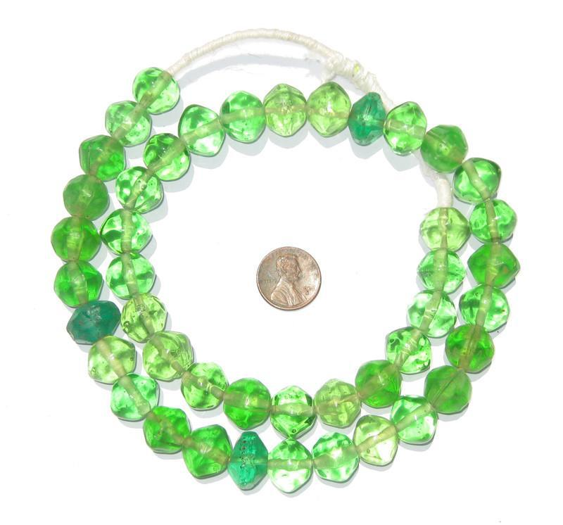 Green Vaseline African Trade Beads - The Bead Chest