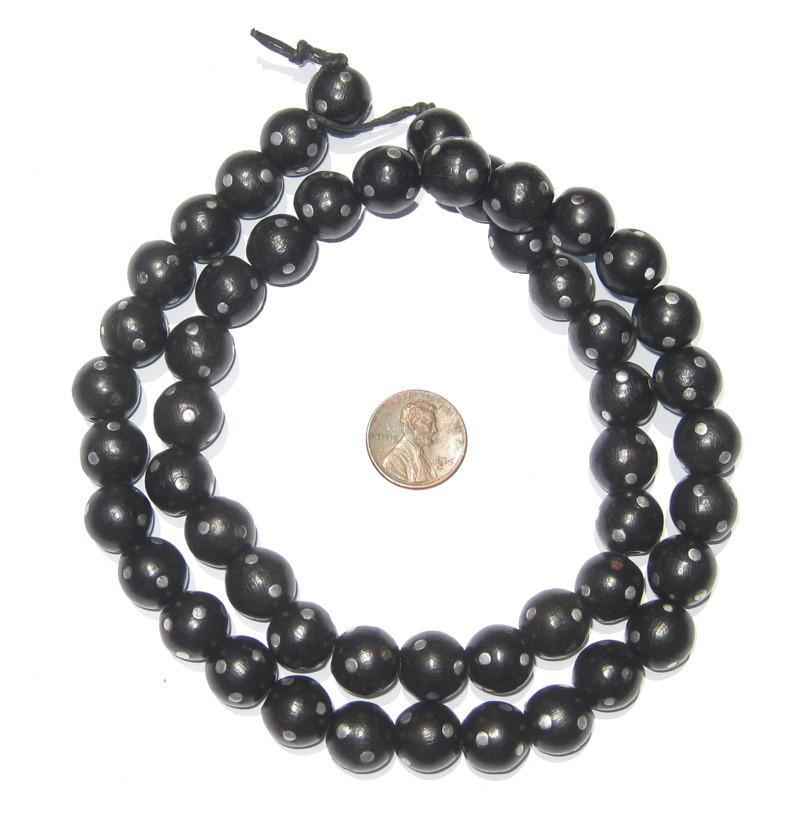 Vintage Mock Black Coral Beads (Round) - The Bead Chest