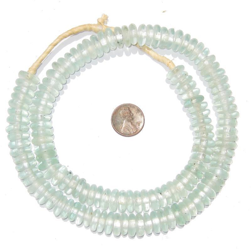 Clear Rondelle Recycled Glass Beads - The Bead Chest