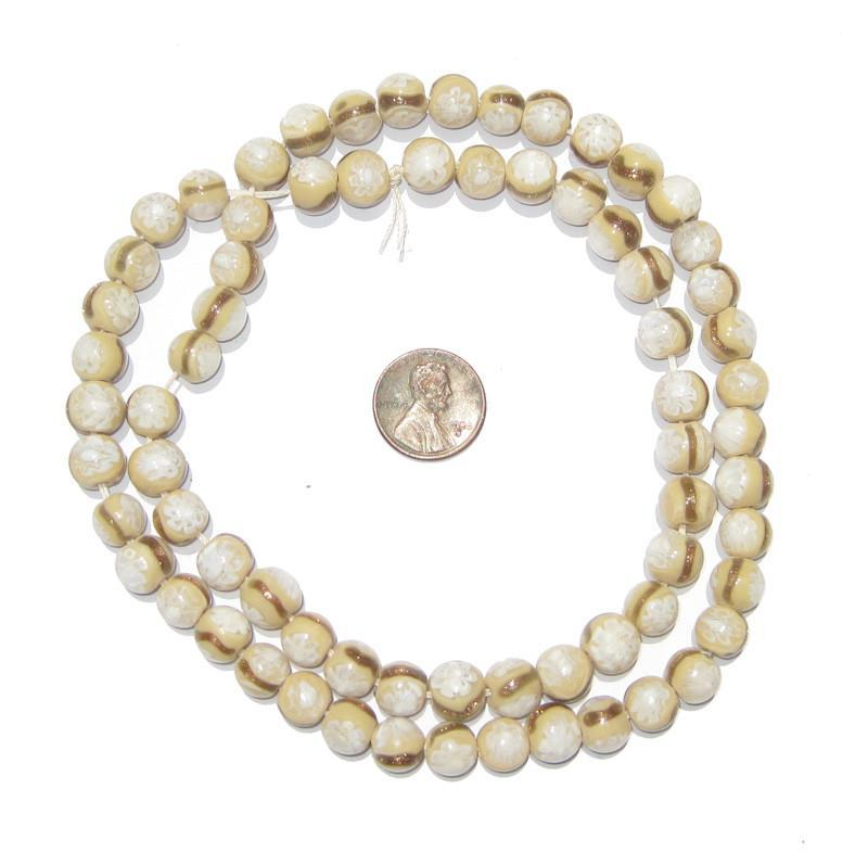 Cameo White & Gold Millefiori Beads - The Bead Chest