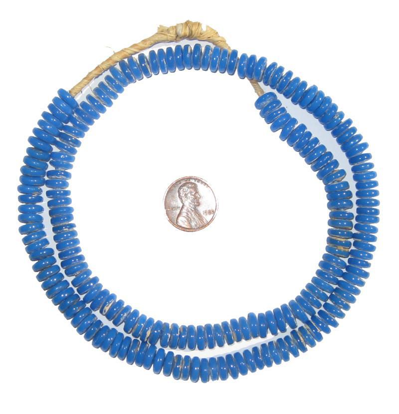 Sky Blue Glass Disk Beads - The Bead Chest