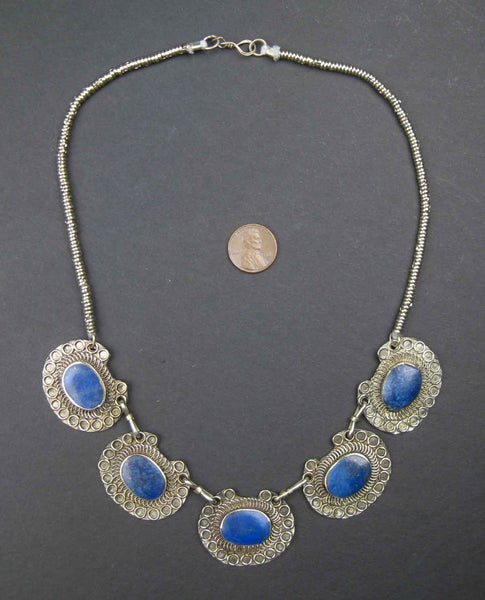 Lapis Lazuli Necklace - Five Medallion Design