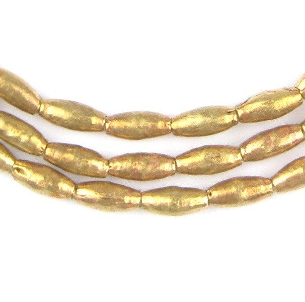 Ethiopian Elongated Brass Oval Beads (10x4mm) - The Bead Chest