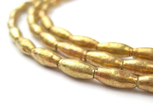 Ethiopian Elongated Brass Oval Beads (10x4mm)