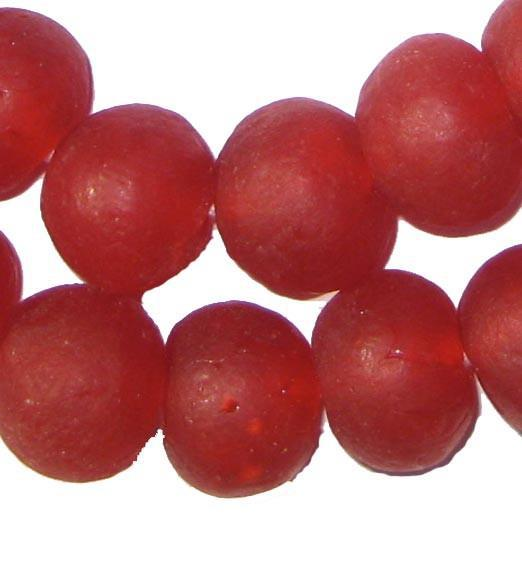Red Recycled Glass Beads (18mm) - The Bead Chest