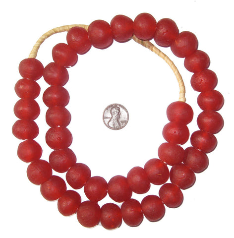 Image of Red Recycled Glass Beads (18mm) - The Bead Chest