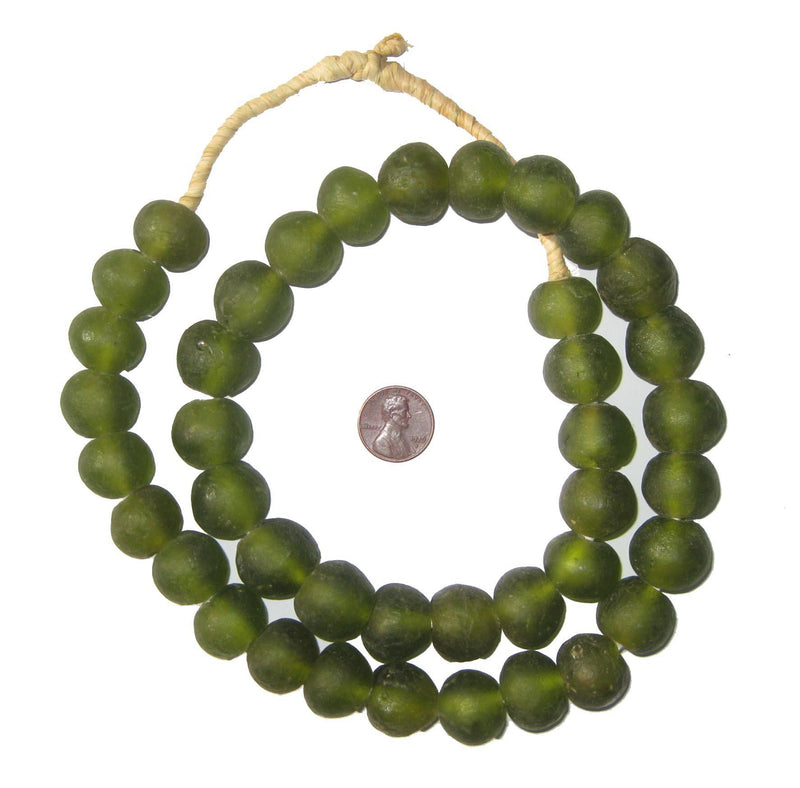 Olive Green Recycled Glass Beads (18mm) - The Bead Chest