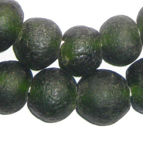 Forest Green Recycled Glass Beads (18mm) - The Bead Chest