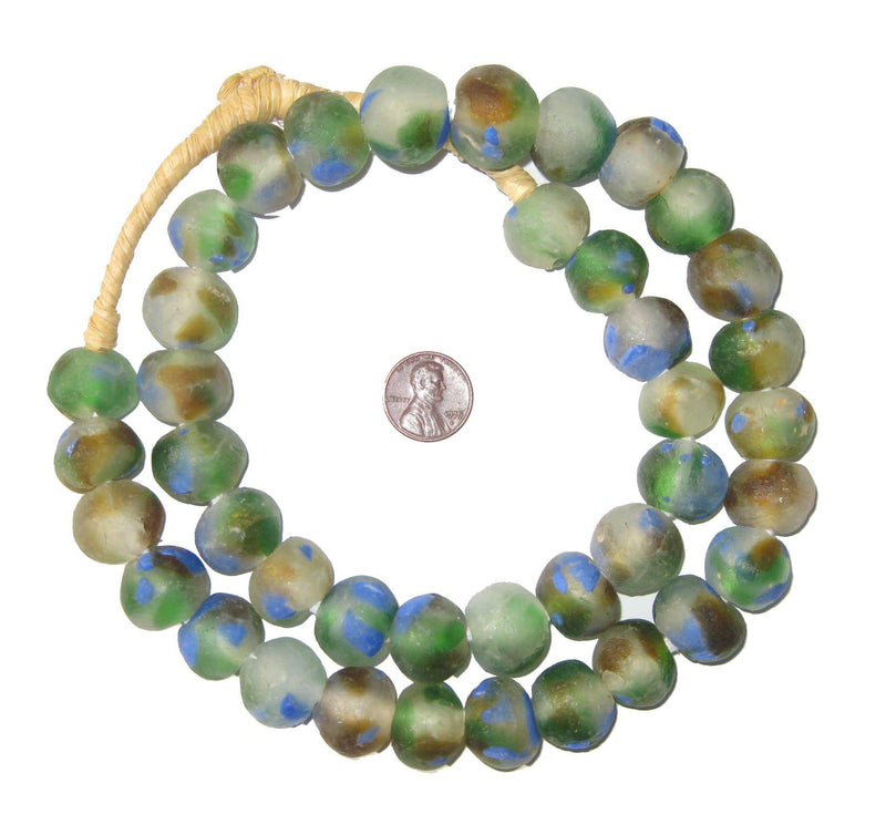 Blue Green Brown Swirl Recycled Glass Beads (18mm) - The Bead Chest