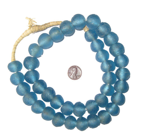 Light Blue Recycled Glass Beads (18mm) - The Bead Chest