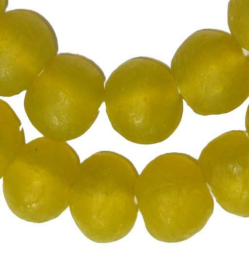 Yellow Recycled Glass Beads (18mm) - The Bead Chest