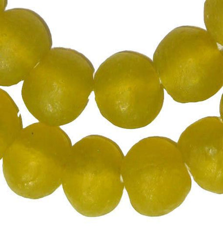 Image of Yellow Recycled Glass Beads (18mm) - The Bead Chest