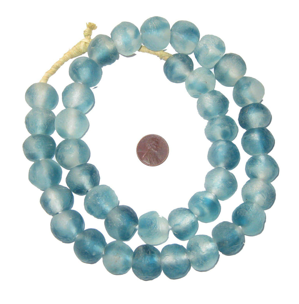 Blue Wave Marine Recycled Glass Beads (18mm) - The Bead Chest