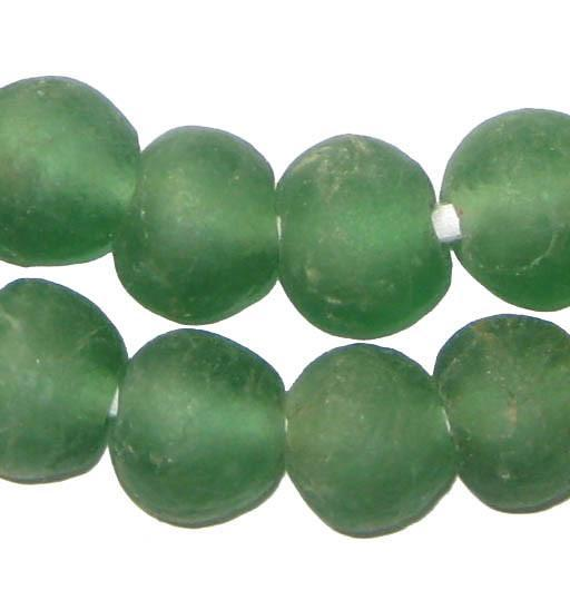 Light Green Recycled Glass Beads (18mm) - The Bead Chest