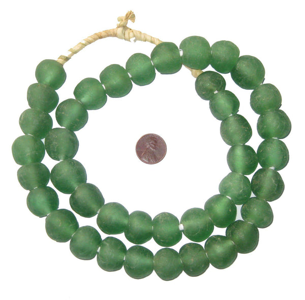 Light Green Recycled Glass Beads (18mm)
