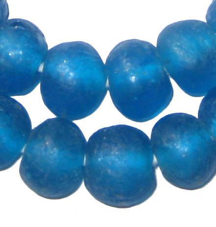 Sapphire Recycled Glass Beads (18mm) - The Bead Chest