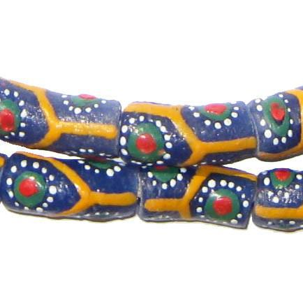 Flower Krobo Powder Glass Beads (Long Strand) - The Bead Chest