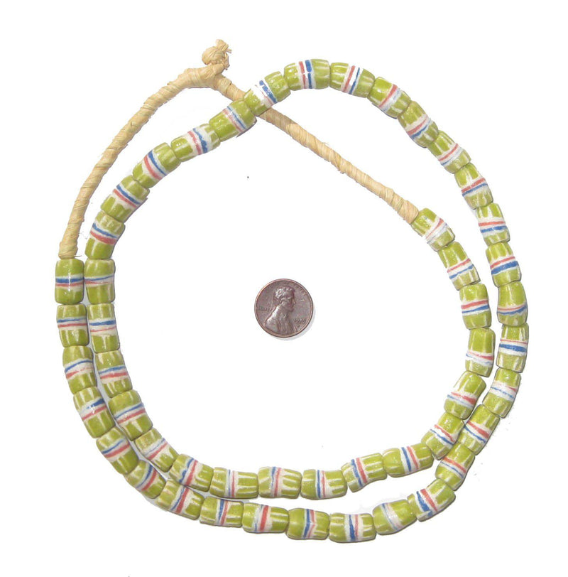 Light Green Strawstack Sandcast Beads (Long Strand) - The Bead Chest