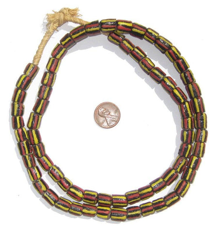 Krobo Jamaica Chevron Glass Beads - The Bead Chest