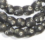 Black Evil Eye Krobo Powder Glass Beads