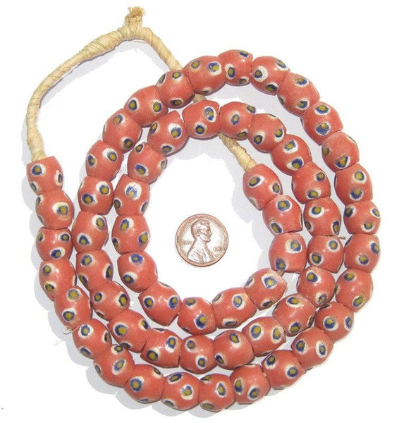Pink Evil Eye Krobo Powder Glass Beads