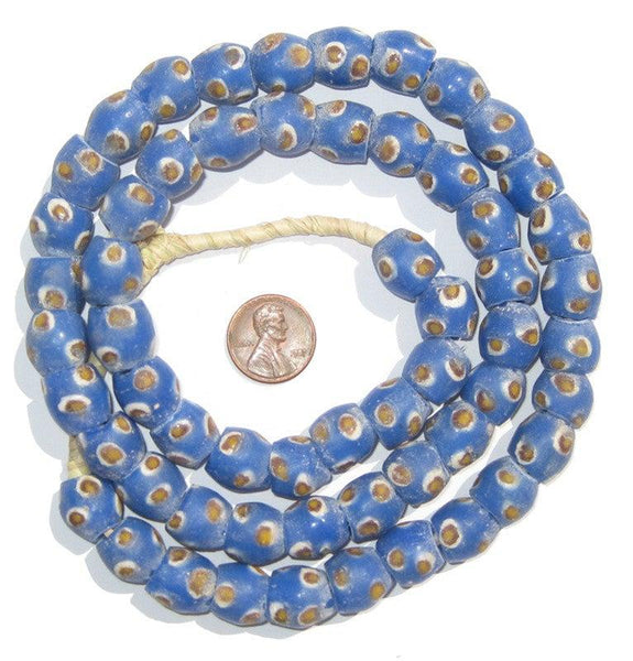 Blue Evil Eye Krobo Powder Glass Beads