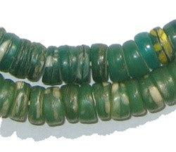 Image of Green with Yellow & White Kakamba Prosser Beads - The Bead Chest