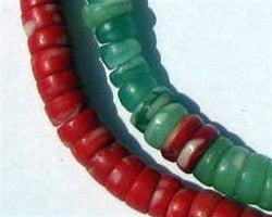 Green and Red Kakamba Prosser Beads
