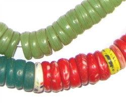 Image of Kakamba Prosser Beads (Large, Green, Red) - The Bead Chest