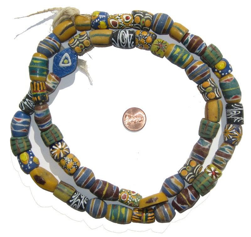 Krobo Fancy Powder Glass Beads, Large - The Bead Chest