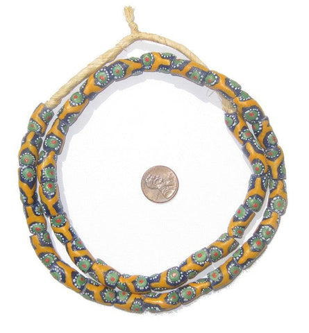 Image of Krobo Fancy Powder Glass Yellow Beads - The Bead Chest