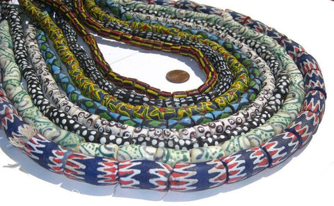 Krobo Deluxe Wholesale Bundle - Powder Glass Beads (8 strands) - The Bead Chest