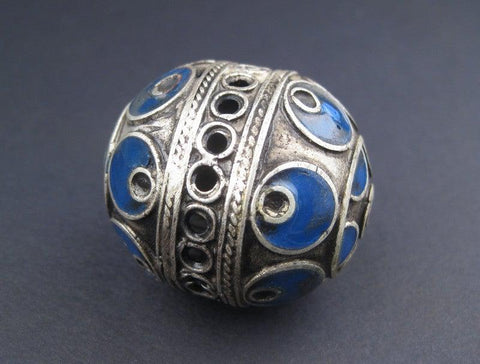 Image of Artisanal Blue Enamel Inlaid Berber Bead Pendant - The Bead Chest