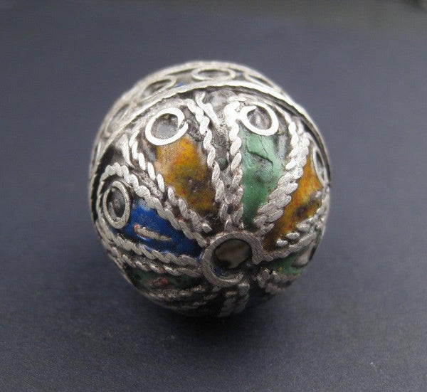 Artisanal Enameled Round Silver Berber Bead - The Bead Chest