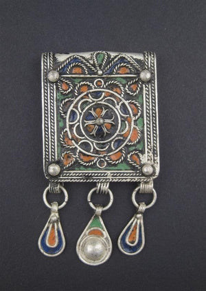Fancy Enameled Rectangular Berber Pendant w/ Dangles - The Bead Chest